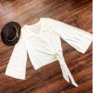 FREE PEOPLE Off White Tie Top